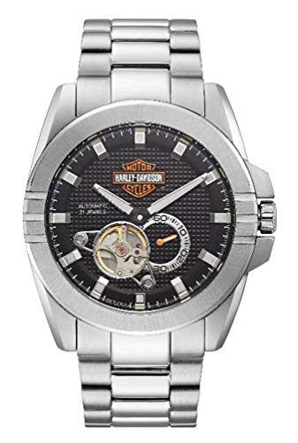 Harley-Davidson Reloj automático de acero inoxidable para hombre, plata 76A166