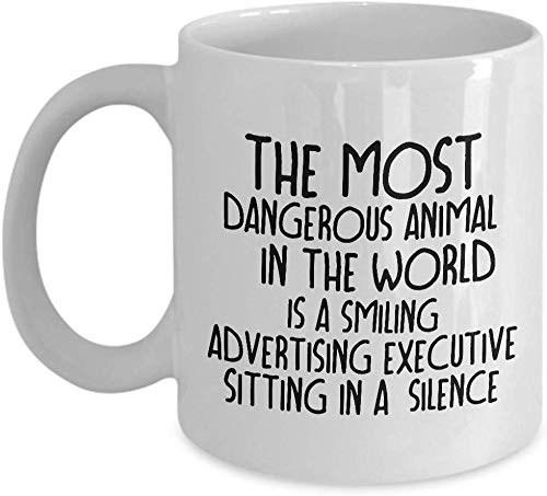 Eastlif DAS GEFÄHRLICHSTE Tier DER Welt IST EIN LÄCHELNDES WERBEMITTEL. Lustig für die Werbung von Executive Kaffeetassen - für Weihnachten Ruhestand, Danke, glückliches Feriengeschenk 11 Unzen