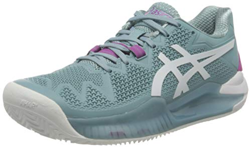 ASICS Gel-Resolution 8 Clay, Scarpe da Tennis Donna, Smoke Blue/White, 42 EU
