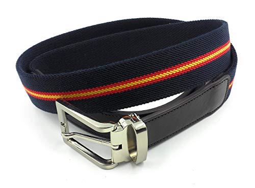 FJR-ArtPiel - Cinturón elástico bandera de España 35mm con extremos en Piel Ubrique - Alta Calidad - Azul Marino: Amazon.es: Handmade