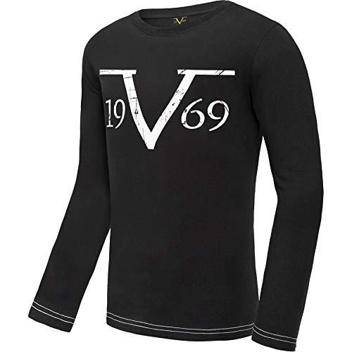 Versace 1969 Abbigliamento Sportivo SRL 19V69 långärmad tröja rund hals V117 av (Model: C590 – herrar, svart; storlek: L) FBA