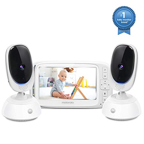Motorola Comfort75-2 Video Baby Monitor - Infant Wireless Camera with Remote Pan, Digital Zoom, Temperature Sensor - 5 Inch LCD Color Screen Display with Two-Way Intercom, Night Vision - 1000ft Range Monitors