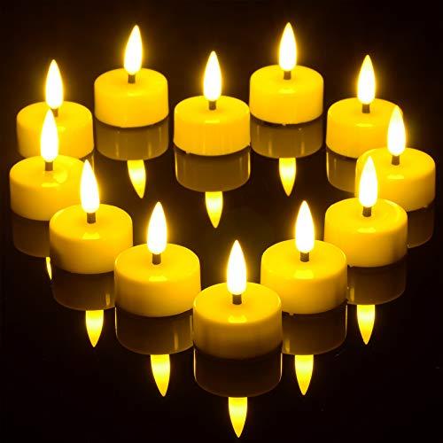 Timer Teelichter, Ymenow 12Stk. Batterie LED Flammenlose Flackernde Kerzen mit 6-Stunden-Timer und Realistischen 3D Dochtkerzen für Zuhause Tabelle Hochzeit Festival Party Dekoration - Warmweiß