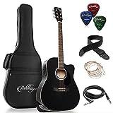 Ashthorpe Full-Size Dreadnought Cutaway Acoustic-Electric Guitar Bundle - Premium Tonewoods - Black
