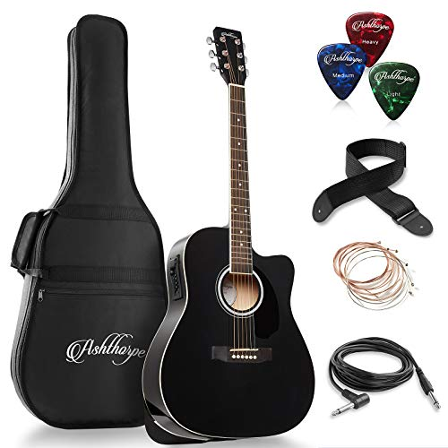 powerful Ash Soap Dreadnought Cutaway Acoustic and Electric Guitar Set (Full Size) – Premium Tone Wood – Black