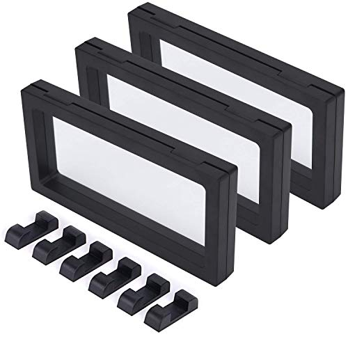 CrazyStorey Set of 3 Pcs Black 3D Floating Frame Display Holder Stands ?Medallions, Jewelry?Challenge Coin,9.6X 3.6 x 0.8 inches