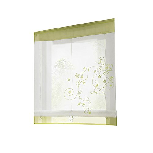 EDQZ Römische Jalousien, Römische Blätter Gesticktes Fenster Vorhang Set Jalousien Tür Bildschirm Raumteiler Grün 80 x 120 cm