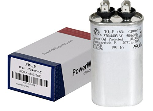 PowerWell Condensador ovalado de 10 uf MFD 370 o 440 VAC PW-10 para ventilador del motor del ventilador del condensador en el driver de...