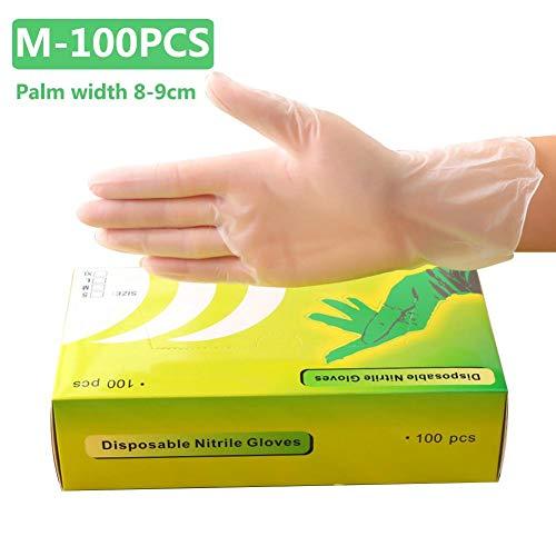 Yestter 100PCS Einweg-PVC-Handschuhe, transparenter Handschuh, wasserdicht, ölbeständig, Dental Tattoo-Handschuhe für die Haushaltsreinigung Everyone