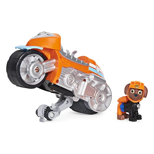 Paw Patrol, Moto Pups Zuma's Deluxe Pull Back Motorcycle Vehicle with Wheelie Feature and Figure