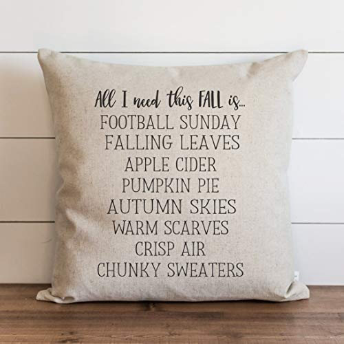 Promini Fall Pillow Cover All I Need This Fall Autumn Pillow Cover Thanksgiving Home Decor Throw Pillow Covers Case Cushion Pillowcase for Sofa Bench Bed 20 x 20 Inches