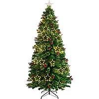 WeRChristmas Árbol de Navidad de Fibra óptica de Pino preiluminado, Verde, 7 ft/2.1m