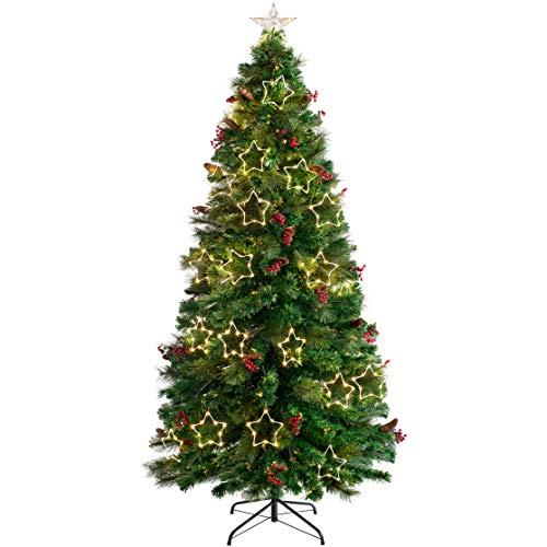 WeRChristmas Árbol de Navidad de Fibra de Pino con Luces LED cálidas, Verde, 5 ft/1.5m
