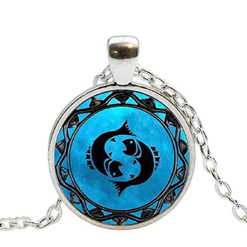 zodiaco Leo símbolo colgante piscis azul piscis zodiaco collar Libra astrología Sagitario horóscopo joyería Escorpio joyas