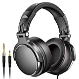 Over-Ear Headphones, Foldable Headsets with Stereo Sound, Powerful Bass Headphones with Protein Memory Foam Ear Pads, 50mm Neodymium Drivers for Electric Drum Piano Guitar AMP (Black)