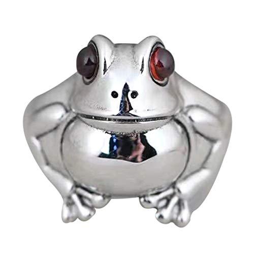 Anillo de rana retro personalidad animal unisex rojo granate rana abierta anillos ajustables joyería fina