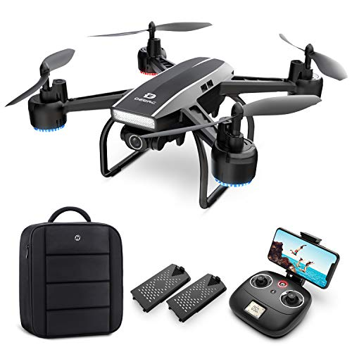 DEERC Drone with Camera for Adults 1080p Full HD FPV Live Video 120° Wide Angle, Altitude Hold, Headless Mode, Gesture Selfie, Waypoints Functions RC Quadcopter with 2 Batteries and Backpack
