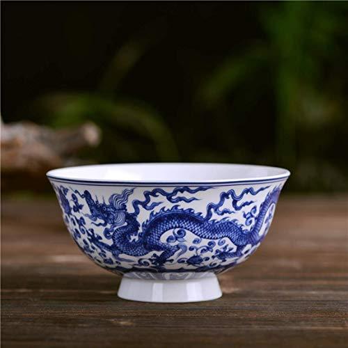 Jkckha Vajilla de cerámica Decoración Jingdezhen porcelana azul y blanca de fideos Gachas Soup Bowl Postre Bocado bandeja azul y negro completo Dragón y Phoenix 11.5x6cm Patrón