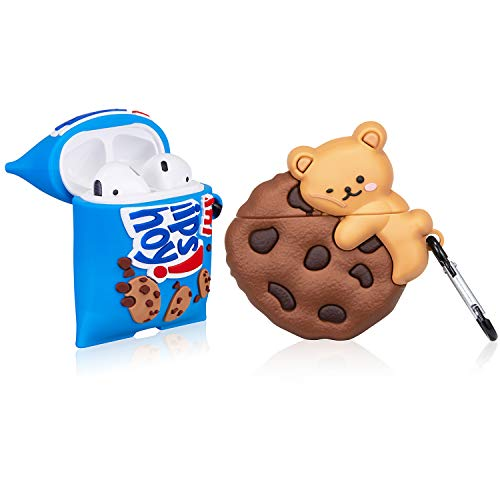 Funnysoul Case for AirPod 2nd/1st, Air Pods 1/2 Cover for Girls Kids, Funny Bear Cookie Pattern Cute Fun Fashion Cartoon Food Design Skin, Shockproof Keychain for AirPods 2&1 Charging Cases 2 Packs