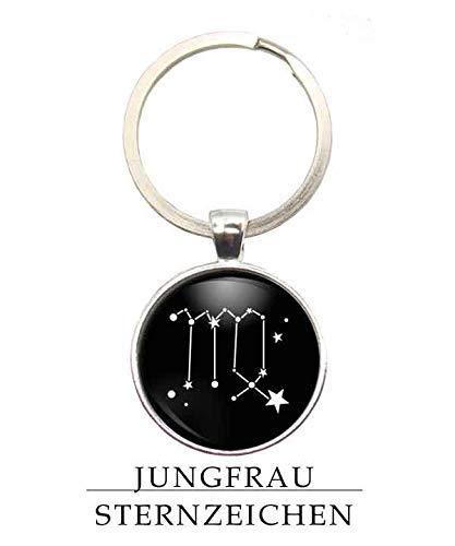 MeLifestyle Cabochon Schlüsselanhänger Sternzeichen Jungfrau Sternenbild Geschenk