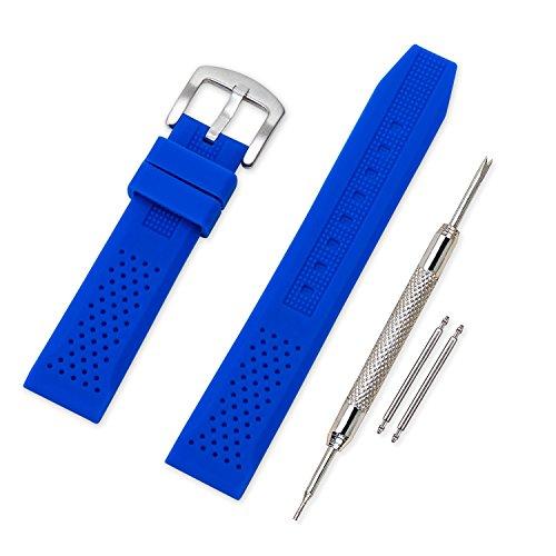 Vinband Correa Reloj Calidad Alta Recambios Correa Relojes Caucho - 16mm, 18mm, 20mm, 22mm, 24mm Silicona Correa Reloj con Hebilla de Acero Inoxidable Cepillado (16mm, Azul)