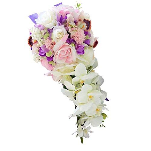 F Fityle Vintage Wasserfall Stil Brautstrauß Künstliche Hand Blume Hochzeit Prom - Lila, 46 x 42 cm