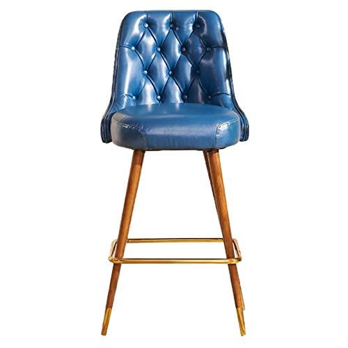 JQQJ barkruk, industrieel, met koperen voeten, van massief hout, hoge kwaliteit, sponskamer, kruk 53x57x110cm Blauw