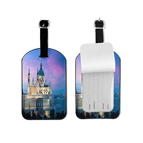 Tvuirw Real Madrid, etichetta per bagagli in microfibra sintetica in pelle sintetica unisex universale da viaggio indossando carina piccola etichetta per bagagli