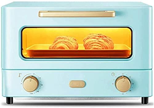 Mini horno 12L Parrilla eléctrica portátil - Función de cocción múltiple Parrilla y control de temperatura ajustable de hornear, Temporizador de mesa 1000W con luz (azul)