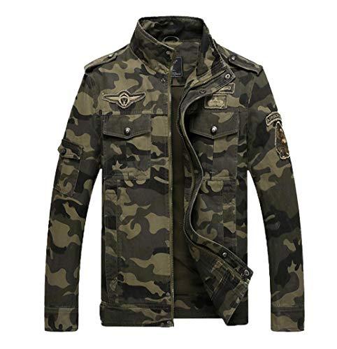 LaoZanA Hombre Chaqueta Camuflaje Abrigo Cazadora Militar Casual Multi-Bolsillo Slim Fit Verde del ejército L