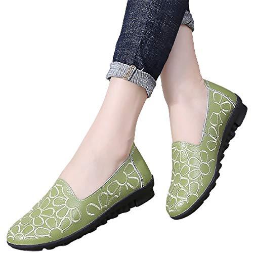 XLanY Zapatillas de Zapatillas de Zapatillas de Ballet de Punta Redonda, Zapatos de Vestido de Ballet Floral para Mujer, Caminar Casual Mocasines de Lustre,Verde,37