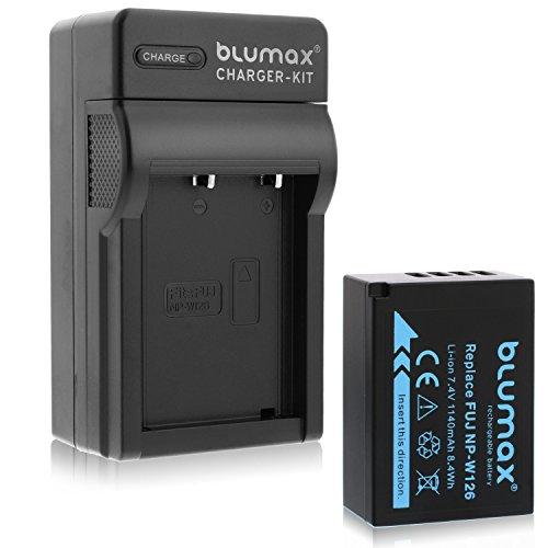 Blumax Akku für Fujifilm NP-W126 | NP-W126s 1140mAh + Ladegerät für NP-W126/s | passend zu Fujifilm FinePix X-T1 X-T2 X-T10 X-T20 X-Pro2 und andere X-E1 X-E2 X-M1 X-A1 X-A2 X-Pro1 X-ES2 X-A3 HS50EXR