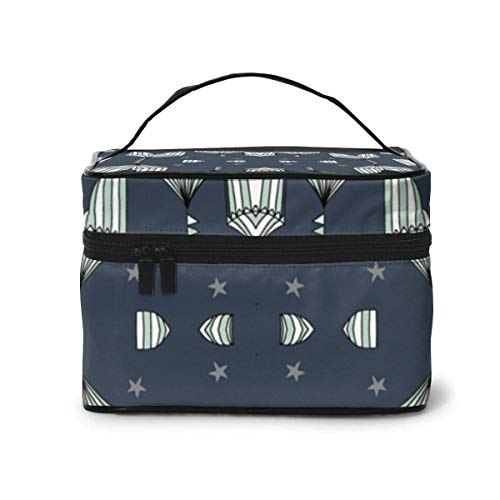 Make-up Taschen Etuis,Kosmetiktaschen Circus Tent Fabric Big Top Carnival Fabric Navy FA Travel Makeup Bag Portable Makeup Boxes for Women Cosmetic Case Storage Organizer Travel Daily Carry