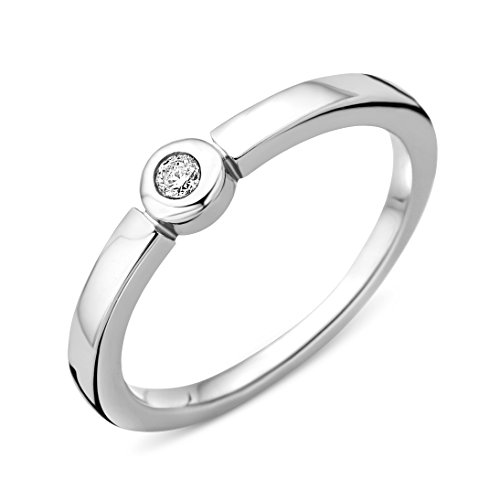 Miore Ring Damen   925 Sterling Silber Solitär Verlobungsring   Diamant Brillianten 0.05 ct