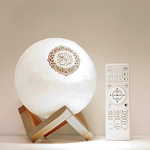 Xpccj 3D Koran Touch Moon Lights LED Lampe Koran Mond Lichter 3D Druck Lampe 7 Farben LED Nachtlicht, Koran Bluetooth Lautsprecher Fernbedienung Kleine Mond Lampe Kabelloser Koran Lautsprecher