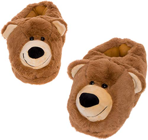 Silver Lilly Bear Face Slippers - Plush Novelty Animal House Shoes w/Comfort Foam (M) Brown