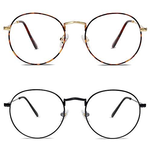 SOJOS Blaulichtfilter Brille Damen Herren Computerbrille Vintage-orientiertes Rund Design SJ5024 (2 Paar (C2Demi-Rahmen+C4Mattschwarzer Rahmen))