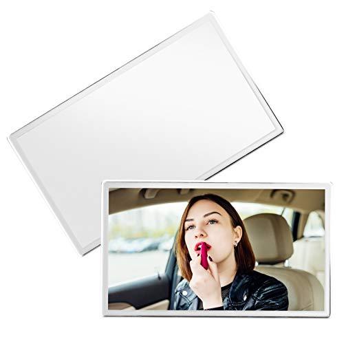 2 Pcs Auto Specchio Cosmetico Specchio per Uso Cosmetico in Acciaio Inox con Aletta Parasole Autoadesiva Accessorio Decorativo 110 * 65mm