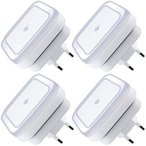 La lámpara de luz de noche LED, 0.5W plug-in de pared LED lámpara de noche para dormitorio, baño, pasillo, escaleras o cualquier cuarto oscuro Brillo suave. (Blanco)(4 PIEZAS)