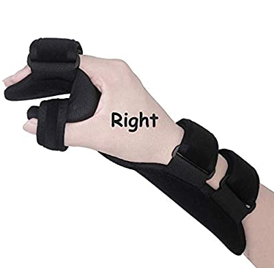 Soft Resting Hand Splint Night Wrist Splint Support Immobilizer Finger Wrist Fracture Fixation Scaffold for Stroke Hand Pain Tendinitis Sprain Fracture Arthritis Dislocation (Large, Right)