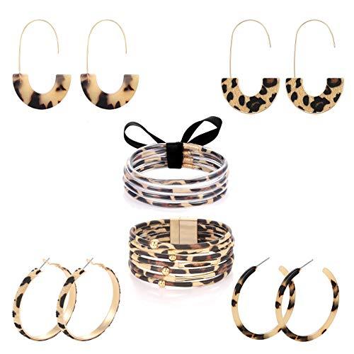 6 Piece Leopard Jewelry Set Leopard Acrylic Hoop Earrings Statement Wire Drop Hoop Earrings Animal Print Multi-Layer Leopard Jelly Silicone Bracelets For Woman