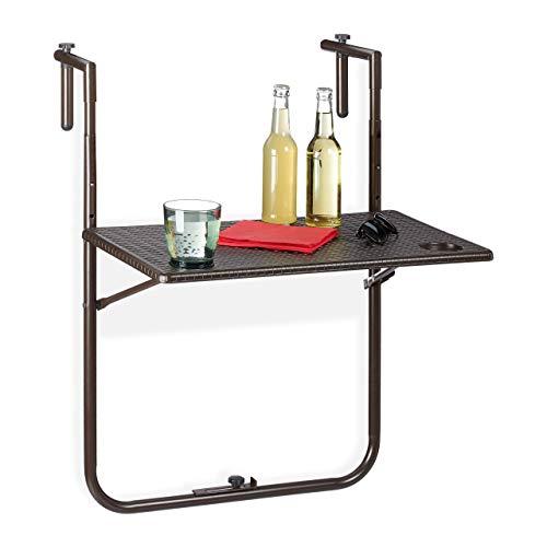 Relaxdays Balkonhängetisch klappbar, 3-Fach höhenverstellbar, Rattan-Optik, wetterfest, Tisch BxT 59,5 x 36 cm, braun