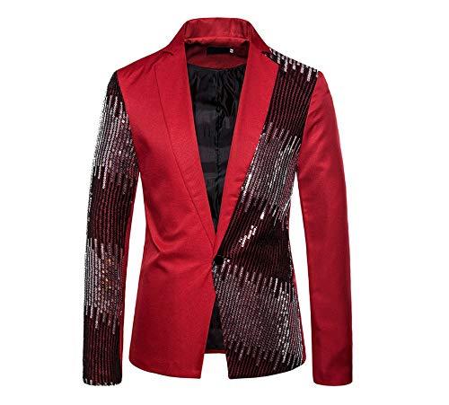 Eghunooye Herren Pailletten Anzug Sakko Slim Fit Glitzer Blazer Anzugjacke EIN Knopf Unregelmäßige Anzugjacke für Nachtklub,Hochzeit,Partei (Rot, XXL)