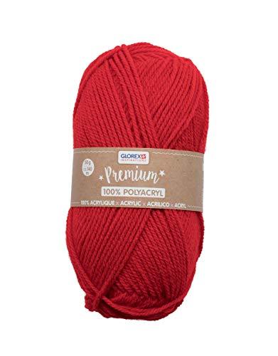 Glorex 5 1001 02 - Premium Wolle aus 100 % Acryl, leicht zu verarbeiten, vielseitig einsetzbar, wärmend, weich, nicht kratzend, 50 g, ca. 140 m, rot