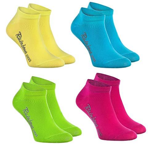 Rainbow Socks - Jungen und Mädchen Sneaker Socken Baumwolle - 4 Paar Multipack - Gelb Türkis Grün Rosa - Größen 30-35