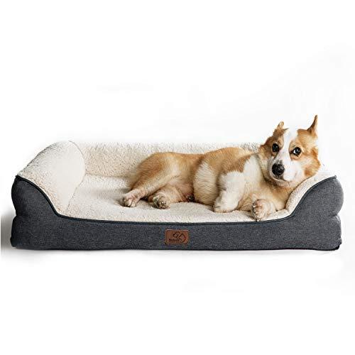 Bedsure Hundesofa Hundecouch für kleine/mittlere/große Hunde, Hundebett mit Memory Schaum orthopädisch ergonomisch Design, waschbar rutschfest flauschig Größe in 106x81cm