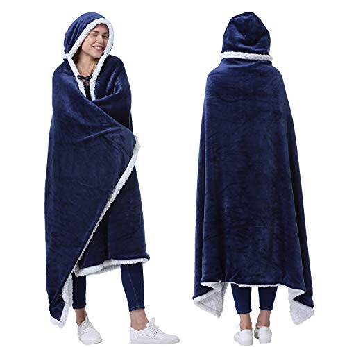 Catalonia Hooded Blanket Poncho | Wearable Blanket Wrap with Hand Pockets | Comfy Sherpa Fleece Throw Cape for Children and Adults,Womans Gift