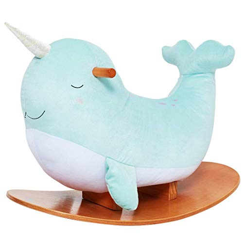labebe -Narwhal Rocking Horse, Baby Wooden Rocking Chair for Child 1-3 Year Old, Kid Ride On Whale Rocker Animal Toy for Infant/Toddler Girl&Boy, Nursery Birthday Gift