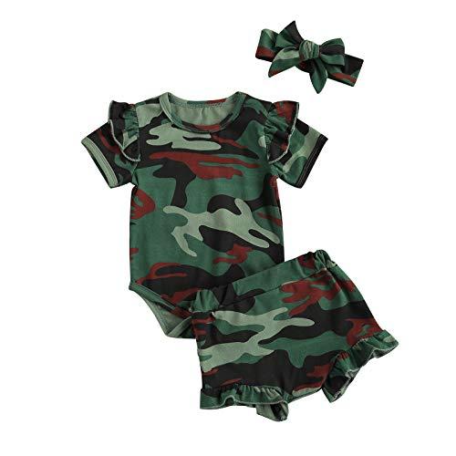 WangsCanis Conjunto de 3 piezas para bebé y niña de manga corta y top para el ejército, pantalones rayados con lazo, con lazo, para la ropa informal Army Green 0-3 Meses