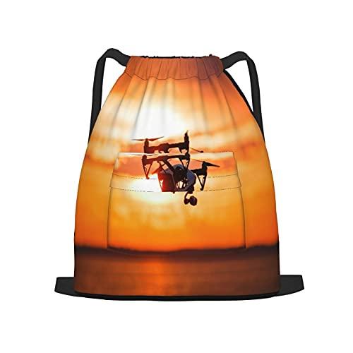 BohoMonos Sportrucksack mit Kordelzug,Quadrocopter Drohne Fernbedienung Dark Silhou, Gym Sackpack für Männer Frauen Kinder Yoga Reisen Camping String Bag.